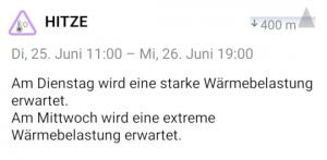 Warnung vor Wärmebelastung